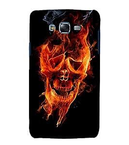 printtech Flaming Skull Face Back Case Cover for Samsung Galaxy J7 / Samsung Galaxy J7 J700F