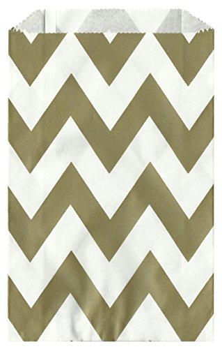 Chevron Stripe GOLD Food Treat & Favor Paper Bags 24 Pk 5X7 - Twilight Parties