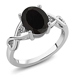 2.06 Ct Oval Natural Black Onyx and White Diamond 925 Sterling Silver Ring