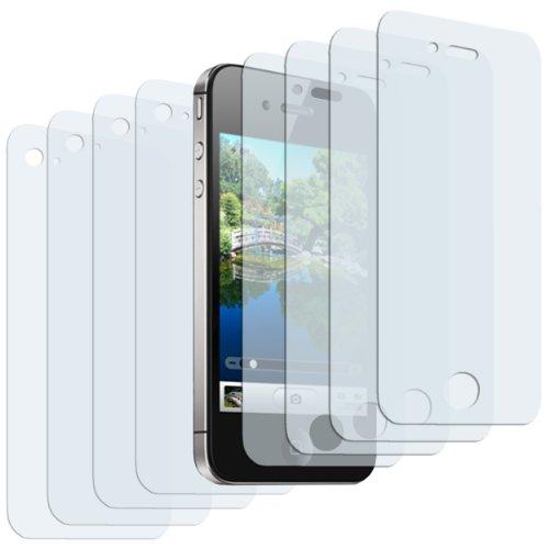 mumbi 8 x Displayschutzfolie iPhone 4S 4 Schutzfolie / 4 x Vorder- und 4 x Rückseite