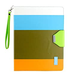 Gearonic Wallet PU Leather Card Holder Magnetic Flip Cover Case Stand for iPad 2/3/4 Multi Color (AV-5374DPUIB)