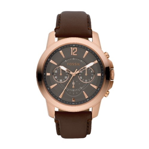 Fossil Men's Heritage Chronograph Watch Fs4648 With Gunmetal Dial, Rose Gold Ip Case And Brown Leather Strap