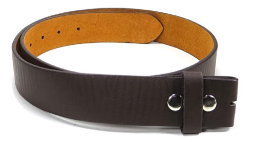 "Leather Belt Strap with Soft Distress 1.5"" Wide with Snaps (Brown-XXL)"