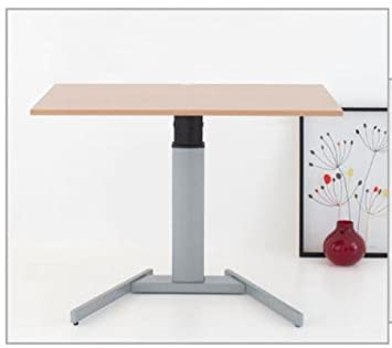 Electrically adjustable mono pedestal table lectern with tabletop in beech optics