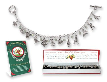 12 Days Of Christmas Charm Bracelet. Elegant Toggle Bracelet Of Figurine Charms, Inspired By The Famous Carol. Richly Detailed And Layered In Sterling Silver. Comes In Red Gift Box.