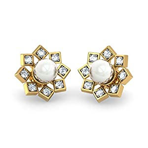 Certified 18K Yellow Gold 0.24 cttw White-Diamond (IJ | SI) and White Pearl Stud Earrings