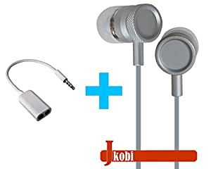 Value Combo Of Metal Body Volume Control Earphone Handsfree and Splitter Cable Compatible For Sony Xperia Z Ultra -Silver