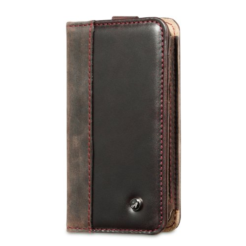 Best Price Acase Genuine Leather iPhone 5s Case / iPhone 5 Case with Card Wallet - Dark Brown