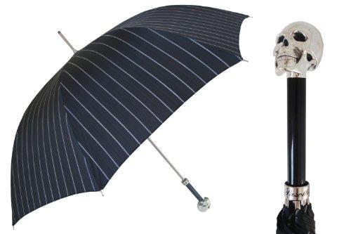 Pasotti Ombrelli Lux Silver Skull Black Pin Striped Rain Umbrella