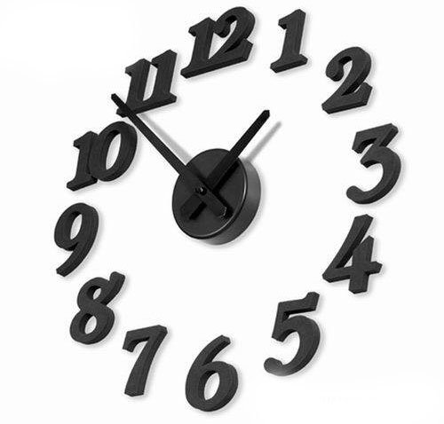 DIY Design Art Foam Sponge Digit Wall Clock Black