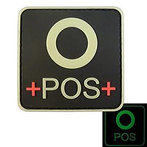 Glow Dark OPOS O+ Groupe Sanguin Tactical Combat PVC Gomme 3D GITD Velcro Écusson Patch
