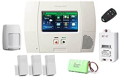 Honeywell L5200 Kit - LYNX Touch Wireless Security Alarm with (3) 5816WMWH Door/Window Transmitters, (1) 5834-4 Four-Button Wireless Keyfob and (1) 5800PIR-RES Wireless Motion Detector