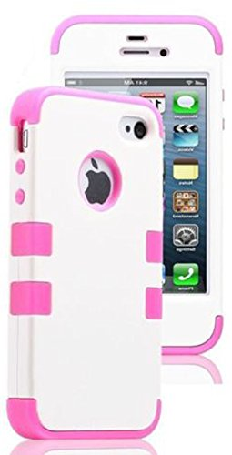 Mylife Bubblegum Pink And White - Flat Color Series (Neo Hypergrip Flex Gel) 3 Piece Case For Iphone 5/5S (5G) 5Th Generation Smartphone By Apple (External 2 Piece Fitted On Hard Rubberized Plates + Internal Soft Silicone Easy Grip Bumper Gel)