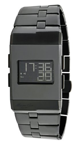 Kenneth Cole Men's Quartz Watch with LCD Dial Digital Display and Black Ceramic Bracelet KC3982
