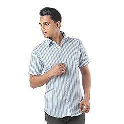 ZIDO Blue Blended Men's Striped Shirts PCFLXHS1279_Blue_48