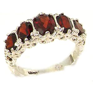 Luxury Ladies Victorian Style Solid Hallmarked Sterling Silver Genuine Garnet Band Ring - Size 5 - Finger Sizes 5 to 12 Available - Suitable as an Eternity ring, Engagement ring, Promise ring, Anniversary ring or Wedding ring