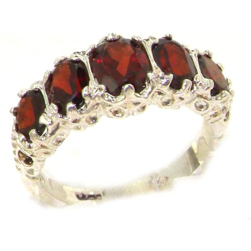 Luxury Ladies Victorian Style Solid Hallmarked Sterling Silver Genuine Garnet Ring - Size 12 - Finger Sizes 5 to 12 Available - Suitable as an Anniversary ring, Engagement ring, Eternity ring, or Promise ring