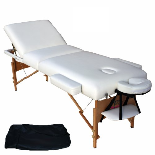 TecTake PORTABLE MASSAGE TABLE 3 SECTIONS WITH 10CM FOAM + BAG WHITE
