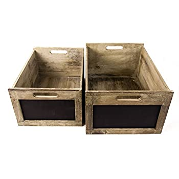 Antique Style Produce Crates with Chalkboard Labels, Set of 2, Large & Medium