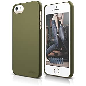 elago S5 Slim Fit Case for iPhone 5/5S + Logo Protection Film included- eco friendly Retail Packaging (Soft feeling Camo Green)