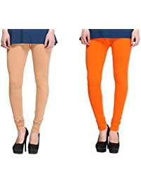 Leggings Free Size Cotton Lycra Churidar Leggings - Pack Of 2 Of Beige & Light Orange Colour By SMEXY
