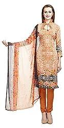 Divyaemporio Women'S Orange American Faux Crepe Salwar Suits Dress Material