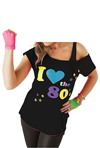 Deluxe I Love The 80's Ladies Pop Star T-Shirt Black Sexy Retro Top - Sizes from 8 to 20