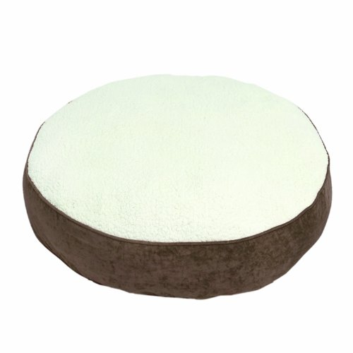 Happy Hounds Scout Deluxe Round Large 42-Inch Dog Bed, Latte/Sherpa front-52009