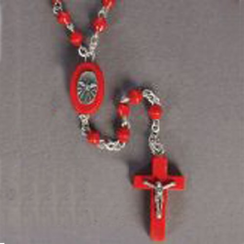 Confirmation Rosary - Red Crucifix - Holy Spirit Centerpiece - 2mm Red Round Beads - Length: 14