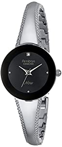 Armitron Women's 75/5218BKSV Diamond-Accented Black Dial Silver-Tone Tapered Bangle Watch