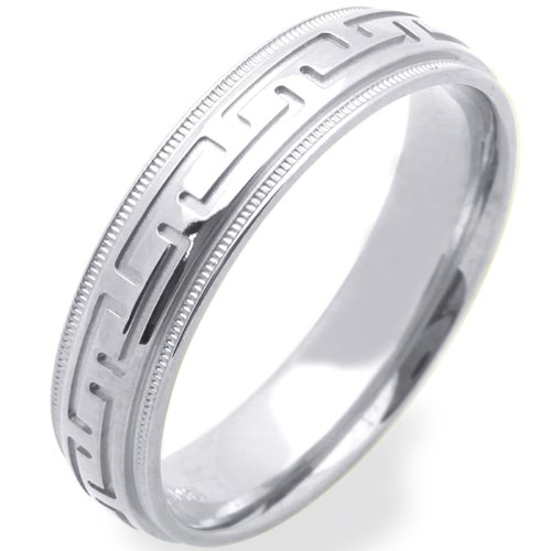 14K White Gold Wedding Bands For Men 6MM Greek Sign Ring , Size 12