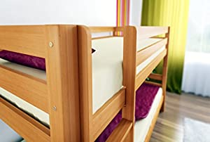 OLI 2 - Solid Wood Bunk Bed 200x90cm - Solid Beech Natural Finish With Slats MADE OF HIGH QUALITY BEECH WOOD, MUCH STRONGER THAN PINE WOOD, LIKE MOST WOODEN BUNK BEDS OFFERED AT AMAZON FAST DELIVERY ORDER NOW