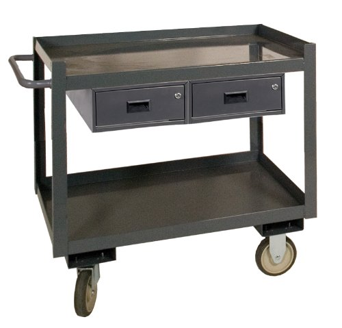 Durham RSC 14 Gauge Steel Service Cart with 2 Drawers, 2 Shelves, Gray, 1200 lbs Load Capacity, 37-5/8