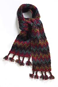 Tabask Cool Flame Stitch Boucle Alpaca Scarf (Multi)