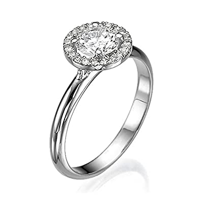 3/4 CT Diamond Ring Round Cut Classic Solitaire Setting with Sidestones H/SI1 (Clarity Enhanced) in 14ct White Gold