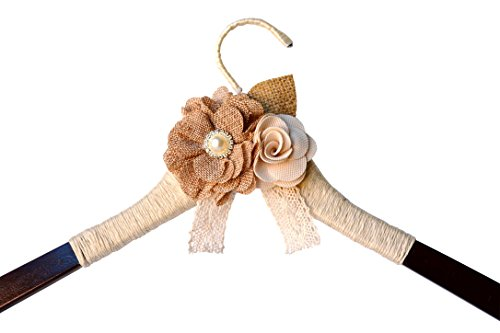 Wedding Hanger Ivory Brown Rustic Burlap Flower Wood Bride Bridesmaid Gift (Ivory)