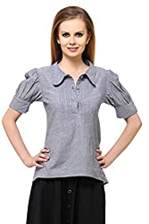Ladybug Women's Gathered Chambray Shirt (LBT144_Grey_Large)