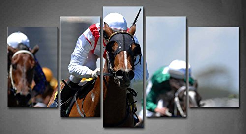 5 Panel Wall Art A Jockey In Action During On A Horse During A Race Painting The Picture Print On Canvas Animal Pictures For Home Decor Decoration Gift Piece (Stretched By Wooden Frame,Ready To Hang)