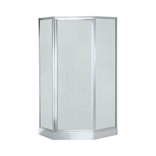 Economy 38 in. x 38 in. x 72 in. Corner Shower Kit with Shower Door in White/Silver 59 1 2in x32 1 4in x86in standard fit shower kit in white acrylic base silver hamrd door left drain decora provantage
