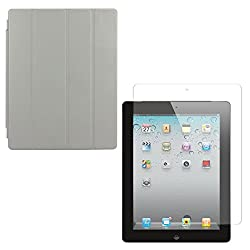 DMG Ultra Slim Magnetic Smart Shell Stand Cover Case for Apple iPad 2/3/4 (Grey) + Tempered Glass Screen Protector