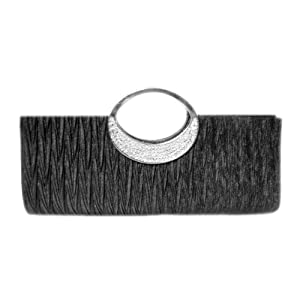 TdZ Edgy Metallic Crystal Party Clutch 11-inch with Strap (Black)