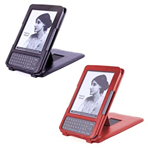 DURAGADGET Twin Pack - Black Genuine Leather Case With Adjustable Stand For Amazon Kindle 3 (Keyboard / Graphite) + BONUS Red Genuine Leather Cover With Stand For Amazon's Kindle 3