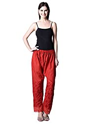 NumBrave Red Cotton EMBROIDERED PLAZZO