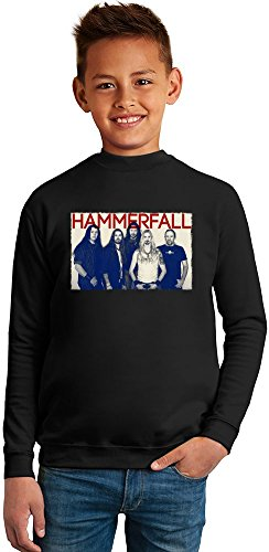 Poster Of HammerFall Superb Quality Boys Sweater by TRUE FANS APPAREL - 50% Cotton & 50% Polyester- Set-In Sleeves- Open End Yarn- Unisex for Boys and Girls 13-14 years