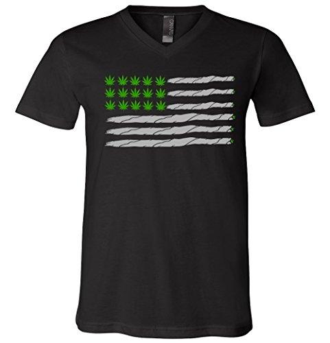 Weed American Flag V-Neck T-Shirt