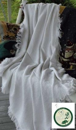 White Eco2Cotton Afghan Throw Blanket 50