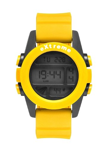 Addison Ross Unisex Quartz Watch with Lcd Dial Digital Display and Yellow Silicone Strap WA0505