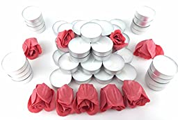 Luxurious Relaxation Bath Soap and Candle Valentine\'s Day Bundle - Two Items: One Heart Shaped Container of Soap Rose Petals 0.64oz, and One 50 Pack of White Unscented Tealight Candles 0.35oz