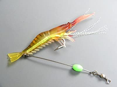 3x 10cm 6g Soft Shrimp Prawn Worm Bait Lure Saltwater Squid Night Glow Fishing Rigs Glow Bead by thkfish