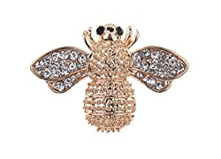 Sorellaz Golden Rhinestone Black Eye Bug Brooch